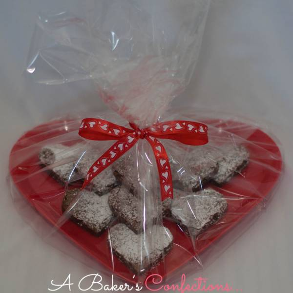 Valentine Heart Shaped Brownie Platter